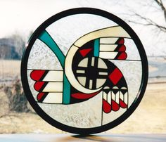 Stained Glass Indian Shield www.swankyglass.com