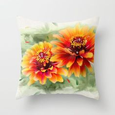 Throw Pillow made from 100% spun polyester poplin fabric, a stylish   statement that will liven up any room. Individually cut and sewn by hand, each pillow features a double-sided print and is finished with a concealed zipper for ease of care.  Sold with or without faux down pillow insert. On Sale NOW