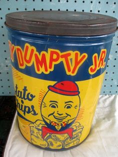 Made in Portland Maine by the Humpty Dumpty Potato Chip Company. Vintage advertising tin. Great graphics and condition.
