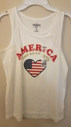 27f3a620c2426 NWT BRAND NEW WITH TAGS youth girls OSH KOSH sz 12 GLITTERY AMERICA TOP  FLAG