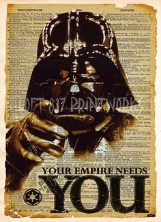 Star wars art print, Darth Vader recruitment ad, vintage star wars art, dictionary print