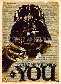 Star wars art print, Darth Vader recruitment ad, vintage star wars art, dictionary print