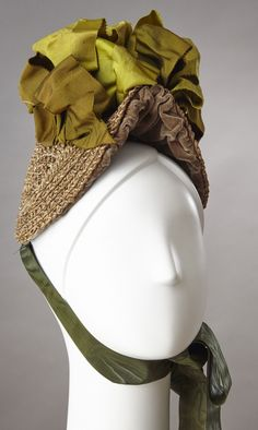 Natural Straw Bonnet With Green Accents
