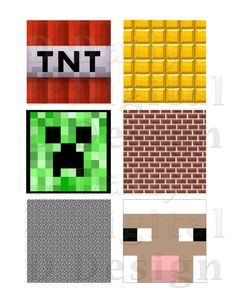 Minecraft Cupcake Toppers Printable 2 Sheet INSTANT DOWNLOAD