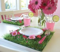 Grass place mats for a Strawberry Shortcake garden party!