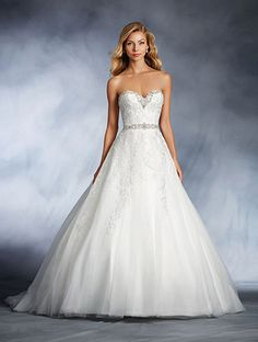 A princess wedding gown with a strapless, sweetheart neckline, natural waist, draped A-line ball gown skirt, and chapel train.