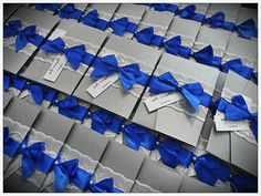 Royal Blue And Silver Wedding Invitation