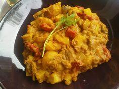 Kartoffel-Curry mit Linsen, Paprika und Champignons