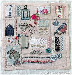 Createme's shop | Felt Cross Stitch Embroidery, Hand Embroidery, Beading Ideas, Fabric Scraps, Stitching, Felt, Quilts, Blanket, Beads