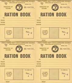 Blank Ration book invitations/menu cards