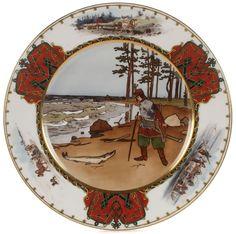 Russian Porcelain Fairytail Plate, Kornilov Bros. 1884-1917.