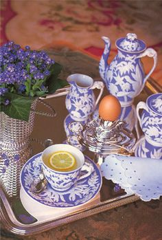 Tea with lemon in antique Wedgwood, by Carolyne Roehm mothers day tea!