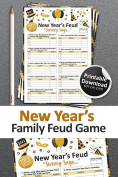 New Years Eve Games, New Years Activities, New Year's Games, All Games, Family Feud Game, Family Games, Auld Lang Syne, New Years Eve Party, Party Ideas