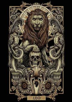 Detailed lion illustration Leo astronomy symbol