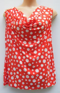 TOMMY & KATE RED/WHITE POLKA DOT COWL NECK SLEEVELESS CASUAL TOP SIZE 20