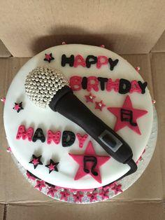 Mandy's microphone cake Music Birthday Cakes, Music Themed Cakes, 12th Birthday Cake, Elegant Birthday Cakes, Bithday Cake, Music Cakes, Dance Party Birthday, Birthday Cake Girls, Microphone Cake