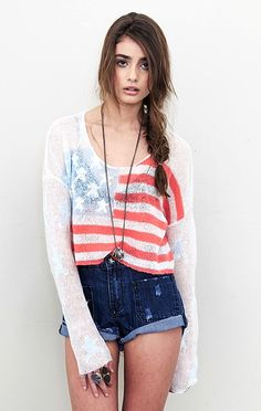 Wildfox Fourth Of July Billy Cropped Sweater - Rosie Huntington-Whiteley & Ashley Tisdale