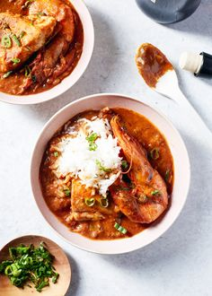 Rollickingly flavorful seafood stew from my hometown of New Orleans. Flavored with generous amounts of creole seasoning and thickened with a dark roux. Seafood Stew, Fish And Seafood, Fish Recipes, Seafood Recipes, Healthy Recipes, Creole Recipes, Dumpling, Soups And Stews, Seafood