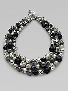 David+Yurman Black+Onyx,+Hematite+&+Sterling+Silver+Three+Row+Necklace