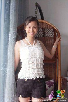 White Pineapple Tank Top free crochet graph pattern