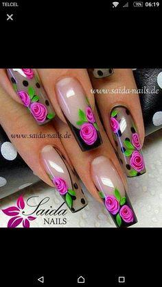 Sheer black nails with roses Fabulous Nails, Perfect Nails, Gorgeous Nails, Pretty Nails, Rose Nails, Flower Nails, My Nails, Fingernail Designs, Nail Art Designs