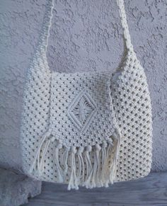 MACRAME purse 1970's by RebeccasVGVintage on Etsy