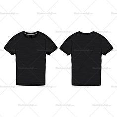 Men's Black Roundneck T-shirt Fashion Flat Template