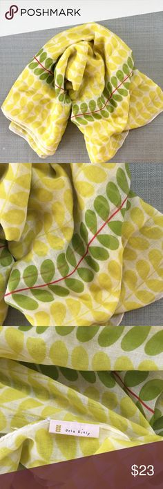 """[orla kiely x uniqlo] green&chartreuse stem scarf A big, generous shawl/scarf from orla kiely x uniqlo. Iconic orla kiely stem design. Chartreuse and green. Excellent condition exc for a small hole in middle ( Pls see pic #4) but is not visible when worn. Semi-sheer cotton blend. Perfect to adorn a monochrome color tops. 27"""" x  68"""" Orla Keily Accessories Scarves & Wraps"""