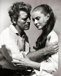 "Burt Lancaster and Audrey Hepburn in director John Huston's ""The Unforgiven"" (1960)"