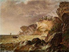 """Jens Peter Møller, (1783-1854): """"Stevens Klint med Höyrup Kirke, efter et overtrækkende Uveir"""", 1822"""