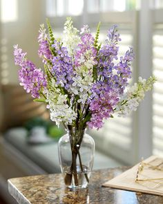 Image detail for -Blue & White Silk Lilac Glass Vase Arrangement
