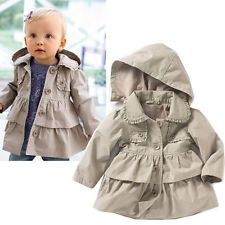 1 NEW Baby Girls kids Long sleeve Lovely Hooded Cotton Parka Jacket Trench Coat