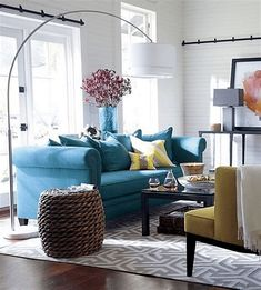 Living Room Decor Yellow And Grey, Living Room Turquoise, Teal Living Rooms, Yellow Kitchen Decor, Living Room Colors, Turquoise Sofa, Grey Room, Living Room Flooring, Living Room Sofa