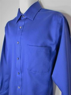 Men Izod Dress Shirt 100% Twill Cotton Indigo Blue sz 16 1/2 X 34 / 35 EUC