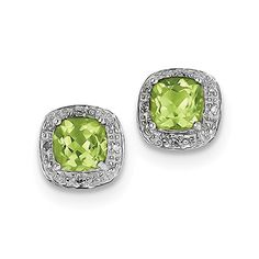Sterling Silver Rhodium Peridot  Diamond Post Earrings Carat Wt 213ct 9MM -- Details can be found by clicking on the image.