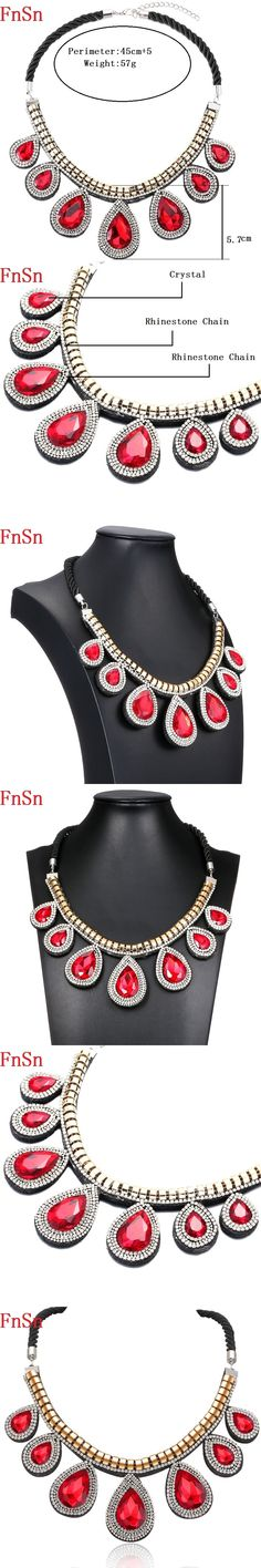 FnSn New Gold Chokers Crystal Statement Pendant Necklace Jewelry Women With Rhinestone Chain Collar Turkish  jewelry Parure N152