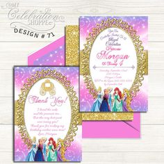 Items similar to Princess Birthday Invitation, Princess, Birthday Invitation on Etsy Princess Birthday Invitations, Printable Invitations, Little Princess, Bright Pink, Gold Glitter, Pixie, Birthday Parties, Frame, Party