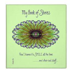 My Book of Stories Fractal Design Text Templates 3 Ring Binder -nature diy customize sprecial design