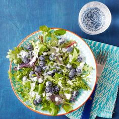 Mixed Greens with Blueberries & Buttermilk Goat Cheese Dressing | Rachael Ray Every Day