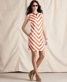 Tommy Hilfiger Dress, Sleeveless Striped Shift - Womens Dresses - Macy's