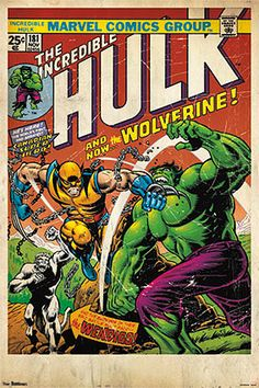 comic book cover wall art hulk and wolverine