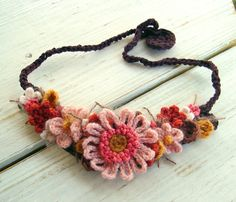 Pink and Brown Flower Crochet Necklace