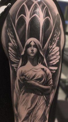 Dove Neck Tattoo, Angel Tattoo Arm, Wolf Tattoo Forearm, Guardian Angel Tattoo, Neck Tattoo For Guys, Ems Tattoos, Dove Tattoos, Sleeve Tattoos, Angel Tattoo Designs