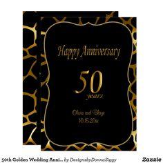 50th Golden Wedding Anniversary | Giraffe Pattern Invitation