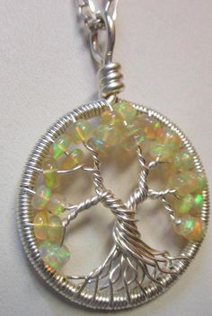 Tree of Life Ethiopian Opal and Fine Silver Wire Wrapped Tree