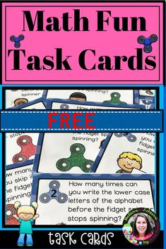 Math Fun Task Cards-FREE There are 24 task cards with math activities on task cards. Just add a Fidget Spinner to complete the fun! Great for SCOOT or math stations! I've included a recording sheet. Interactive Activities, Math Activities, Math Games, Free Teaching Resources, Teaching Math, Math Stations, Math Centers, First Grade Lessons, Free Math