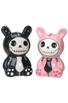 Furrybones® Black / Pink Bun-Bun Salt N Pepper Shaker