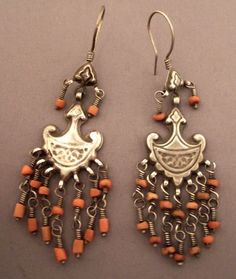 India | Earrings; silver and coral | Sold