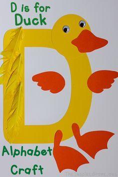Alphabet Craft - D is for Duck - Crafts Preschool Letter Crafts, Alphabet Letter Crafts, Daycare Crafts, Classroom Crafts, Alphabet Activities, Toddler Crafts, Toddler Activities, Preschool Activities, Letter Art