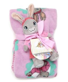 Look at this Pink & Mint Lily Bobtail Blanket & Plush on #zulily today!